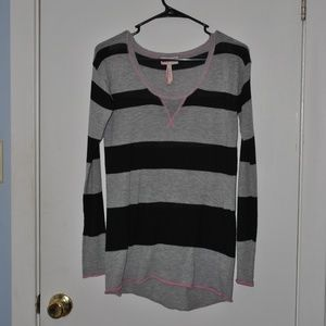 Black and Gray Striped Sweater w/ a Hint of Pink!